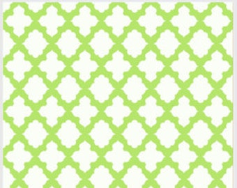 Carousel Lattice, by P and B Textiles, White Fabric with Bright Green Lattice, Fabric by the Yard
