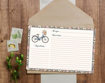 SALE 25% OFF Shabby Chic French Floral Bicycle Recipe Cards - Instant Download - 3x5 and 4x6