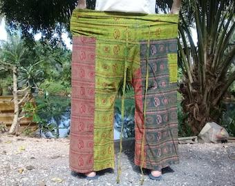 "Fisherman Pants Thai Long Wrap Pants Hippie Travel Beach 43""  Omm Symbols Lime Green Brown"