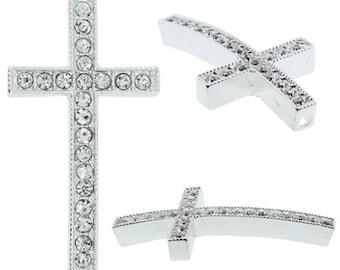 50mm Beadelle Pave Silver/Crystal Cross (2pcs)