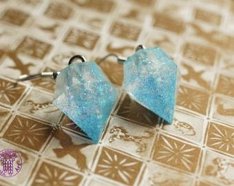 Blue Glitter Diamond Earrings - Nickel free