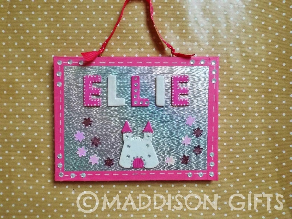 Pink Princess Bedroom Door Plaque Fairytale Name Sign Girls