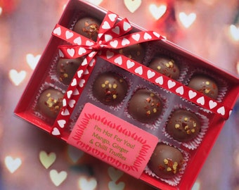 LIMITED EDITION - 12 Mango, Ginger & Chilli Milk Chocolate Truffles - Personalised Gift Box for Valentines/Birthday/Gift