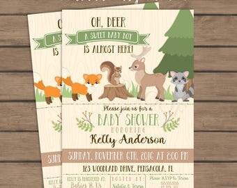 Woodland Baby Shower Invitation - Forest Animals - Invite - Printable - Fox - Deer - Boy Baby Shower - Winter - Fall - Woodland Theme
