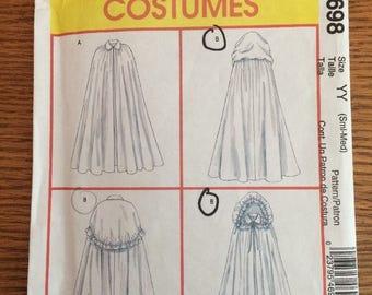 Ren Faire Lined Cape Cloak w/ Hood Costume Pattern McCalls M4698 Size S M UNCUT