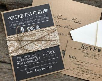 Rustic Wedding Invitation | Etsy