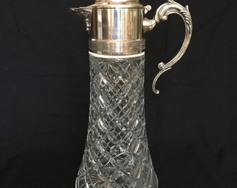 Wine Decanter Claret Glass and Silverplate