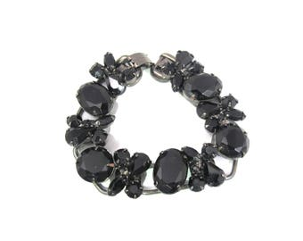 D&E Juliana Rhinestone Bracelet, Black Five Link Prong Set Glass Rhinestones, Verified Delizza And Elster Juliana Jewelry