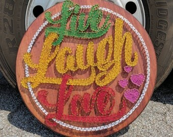 "Live Laugh Love String Art - 24"" diameter"