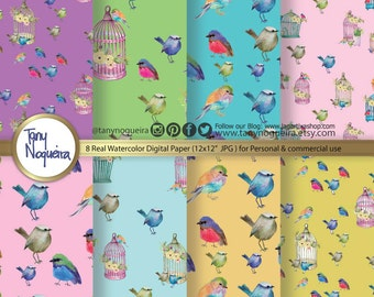 Little Birds Digital Papers hand painted,birds patterns, birdy design,colorful birds, watercolor digital papers, handpainted, scrapbooking