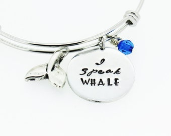 I Speak Whale adjustable bracelet Just Keep Swimming Gift | Friend Gift | Daughter Gift | Inspirational Quote | Christmas Gift |