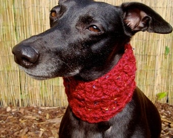 Red sighthound snood, whippet, lurcher, greyhound, Italian greyhound, dog scarf, dog snood, dog clothing, gifts for dogs, sighthound