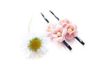 Pink Flower Bobby Pins Set, Flower Golden Hair Pins, Pink Adorable Flower Bobby Pin Set