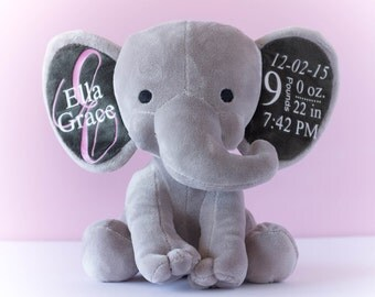 Birth Stat Elephant, Birth Stat Animal, Birth Stat Gift, Stuffed Elephant, Baby Shower Gift, Baby Girl Gift, Baby Boy Gift, Personalized