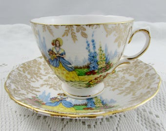 Colclough Lady in Crinoline Chintz Tea Cup and Saucer, Vintage Bone China