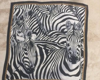 Beautiful Zebra Print Echo Silk Scarf