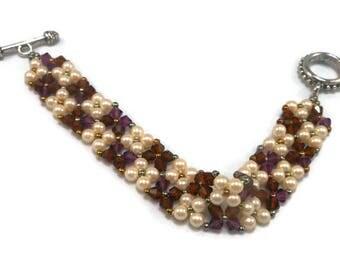 Crystal Bracelet, Glass Pearls, Amthyst & White Crystal Bracelet, Beaded Bracelet, Women's Bracelet, Hand Made Crystal Bracelet