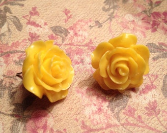 Summer Yellow Rose Earrings