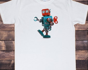 Men's White T-Shirt Tin Robot  Godzilla Top Fashionable Toy Funny Japanese Swag Print TS574