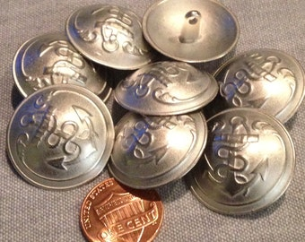 """8 Large Domed Silver Tone Metal Shank Buttons Anchor Nautical 1"""" 26mm 7961"""