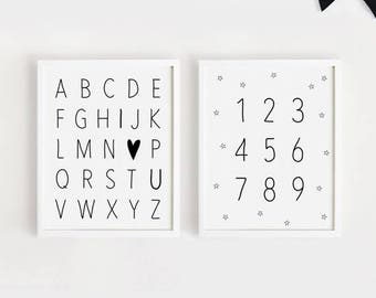Printable Alphabets and numbers Poster Black and White Nursery Wall art Baby prints Digital 5x7, 8x10, 11x14, A4, A3 INSTANT DOWNLOAD