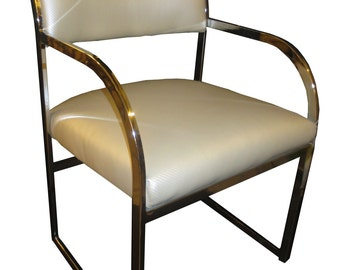 2 Pairs of 1970's Flat Chrome Baughman Style Side Chairs