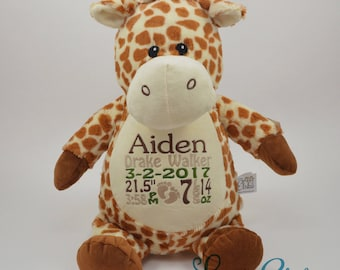 Personalized Giraffe, Birth Stats Animal, Birth Stats Giraffe, Embroidered Stuffed Animal, Birth Announcement, Embroidered Animal, Giraffe