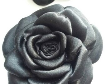 1 x Satin finish fabric black rose hair clip / brooch