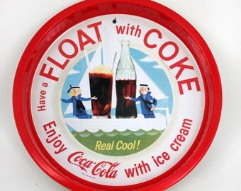 Coca Cola Tin Tray, Have a Float with Coke and Ice Cream, Advertising Serving Tray, Reproduction from the 1960's