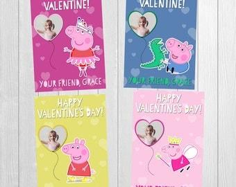 Peppa Pig Valentines, Peppa Pig Valentines, Peppa Valentines, Peppa Pig, Peppa Childrens Valentine, Printable Pokemon Valentine