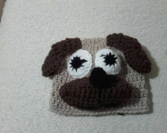 Crochet pug hat, baby pug hat, newborn pug hat, pug hat,  ready to ship