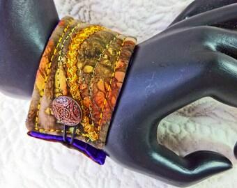 """Wrist cuff 7"""", fiber art bracelet, art to wear cuff, textile art cuff, fiber jewelry, Cuff bracelet, OOAK, Wearable art Multi hues #6"""