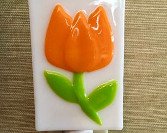 Orange Tulip Fused Glass Night Light, Orange Flower, Sun Room Light, Kitchen Light, Bedroom Night Light