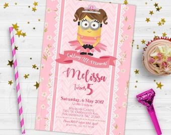 DIGITAL Minion Birthday Invitation, Girl Minion Invitation, Minion Birthday Invitation, Girl Minion Party, Pink Minion Invitation