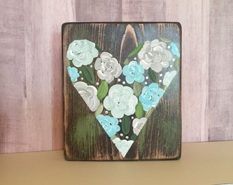 Flower Heart Small Wooden Sign