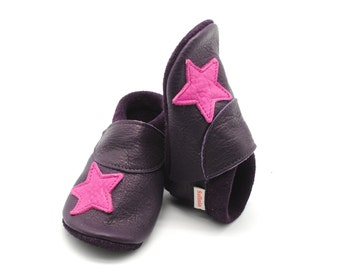 Baby shoes, baby shoes star of Safinio made of vegetable tanned leather