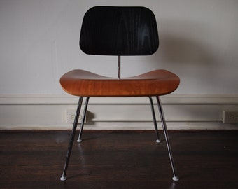 Herman Miller EAMES DCM Dining Side Desk CHAIR Black + Cherry, Mid-Century Modern, danish mad men eames era retro atomic funky knoll mod