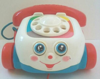 Vintage Fisher Price Chatter Telephone Pull Toy, Vintage Fisher Price, Pull Toy, Chatter Phone.