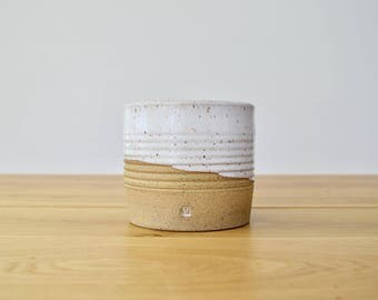 FARMHOUSE Collection: Dipped crock/planter. Handmade, wheel thrown stoneware pottery. Modern/functional/rustic for kitchen styling.