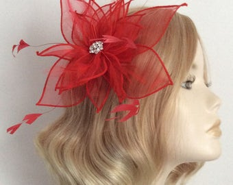 RED ORGANZA FASCINATOR, With feathers, Crystal detail, on clip