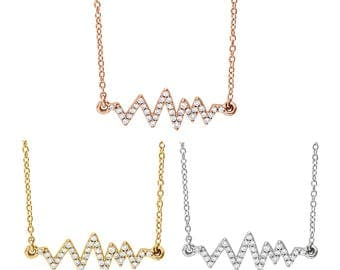 """Romantic 14K Gold 1/6 CTW Diamond Heartbeat Pulse 16-18"""" Necklace in Rose Gold, White or Yellow Gold"""