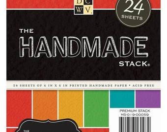 DCWV Handmade Stack, 24 Sheets of Handmade Paper, 6 x 6 Scrapbooking Paper, Textured Paper, Handmade Paper
