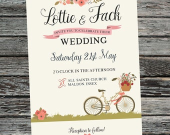 Vintage, Floral Bike, Printable Wedding Invitation set. Custom, Personalised Invites. Bicycle, garden wedding, greens, pinks, rustic, flower
