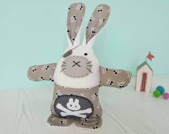 Easter bunny toy - plush rabbit toy - Easter egg hunt - Easter gift for baby - worry doll - pirate gift - stuffed bunny - stuffed pirate toy