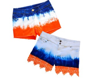 Orange + Blue/Navy Tie-Dye Shorts