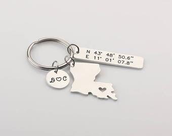Personalized Latitude Longitude Keychain - I Heart Louisiana Keyring - Custom Initials Name Keychain - GPS Coordinates Gift