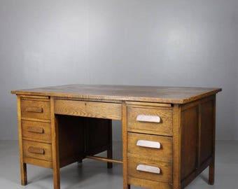 Vintage 1940s Twin Pedestal Oak Desk