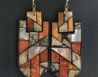 Vintage earrings of inlaid coral, mother of pearl and black shell. ervn924(e)