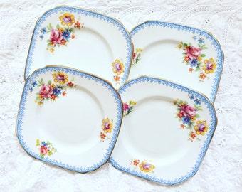 Vintage bone china tea plates x4 - Sutherland China - Made in England