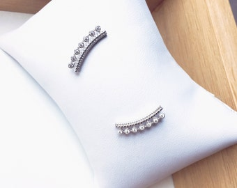 Earrings rhinestone Milena - Sterling Silver 925/000 and zirconium - sterling silver earrings / ear jackets